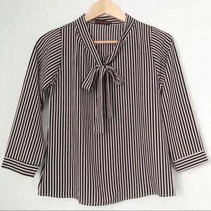 Striped secretary chiffon blouse